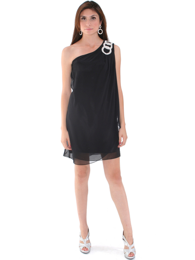1902 Black One Shoulder Chiffon Cocktail Dress - Black, Front View Medium