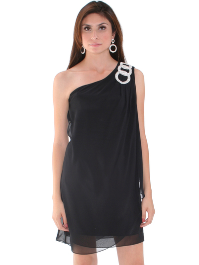 1902 Black One Shoulder Chiffon Cocktail Dress - Black, Alt View Medium
