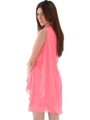1902 Coral  One Shoulder Chiffon Cocktail Dress - Coral, Back View Thumbnail