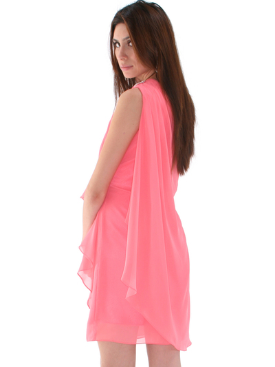 1902 Coral  One Shoulder Chiffon Cocktail Dress - Coral, Back View Medium