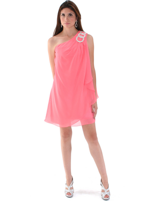 1902 Coral  One Shoulder Chiffon Cocktail Dress, Coral