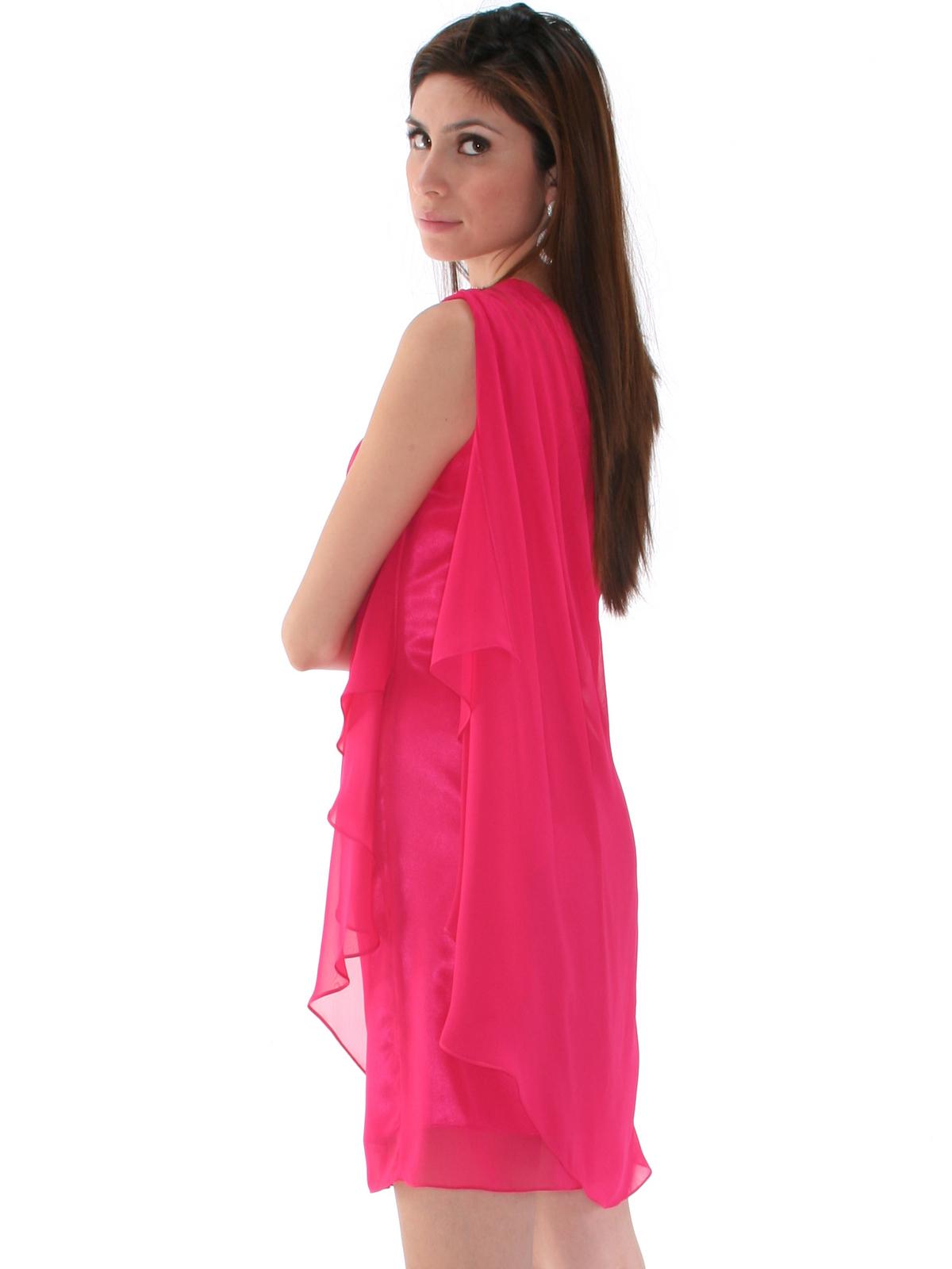 Fuschia One Shoulder Chiffon Cocktail Dress Sung