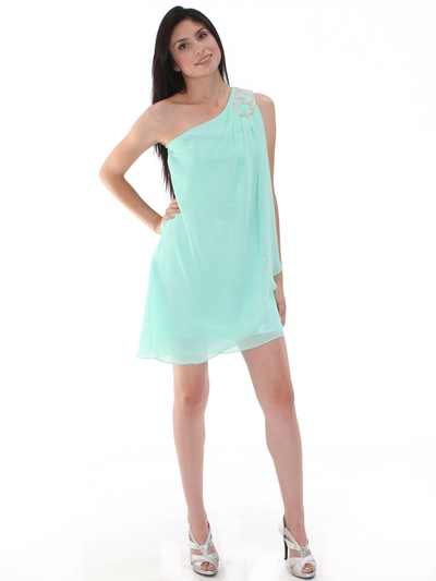 1902 Mint One Shoulder Chiffon Cocktail Dress - Mint, Front View Medium