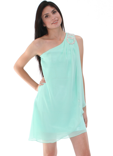 1902 Mint One Shoulder Chiffon Cocktail Dress - Mint, Alt View Medium