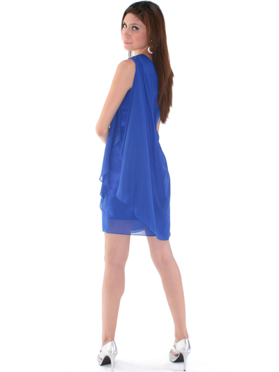 1902 Royal Blue One Shoulder Chiffon Cocktail Dress - Royal Blue, Back View Medium