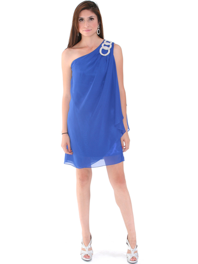 1902 Royal Blue One Shoulder Chiffon Cocktail Dress - Royal Blue, Front View Medium