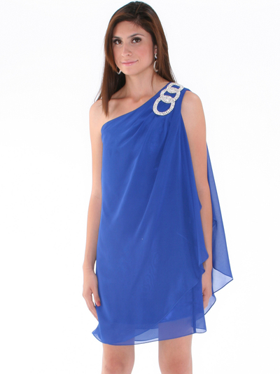 1902 Royal Blue One Shoulder Chiffon Cocktail Dress - Royal Blue, Alt View Medium
