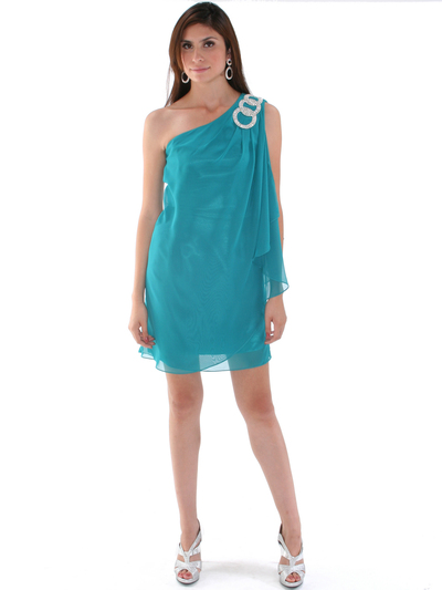 1902 Teal One Shoulder Chiffon Cocktail Dress - Teal, Front View Medium