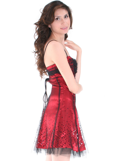 1904 Lace Overlay Homecoming Dress - Black Red, Back View Medium