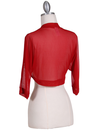 1913 Red Bolero Jacket - Red, Back View Medium