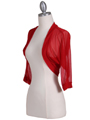 1913 Red Bolero Jacket - Red, Alt View Thumbnail