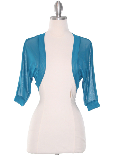 1913 Teal Bolero Jacket - Teal, Front View Medium