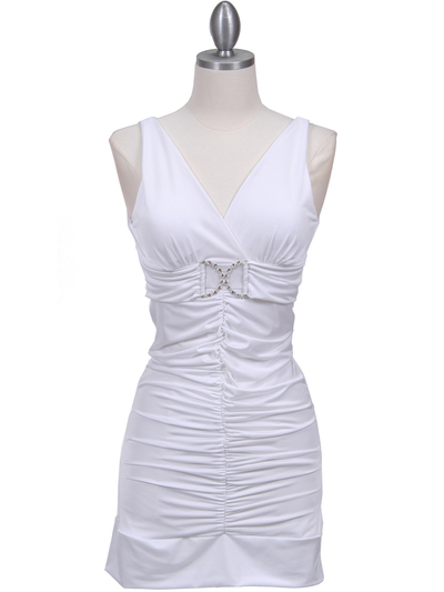 1921 White Party Dress - White, Front View Medium
