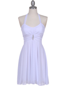 White Halter Party Dress