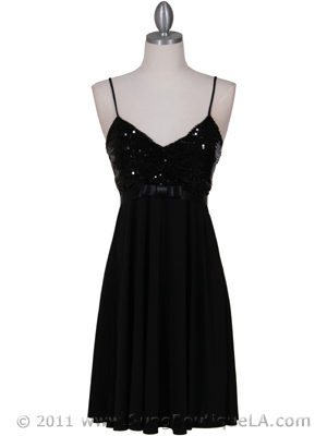1937 Black Glitter Party Dress, Black