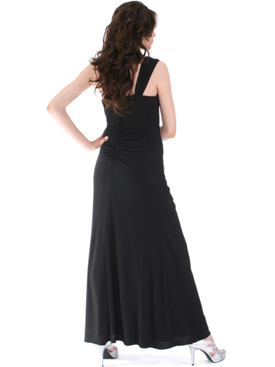 1943 Asymmetrical Neckline Evening Dress with Rhinestone Decor - Black, Back View Medium