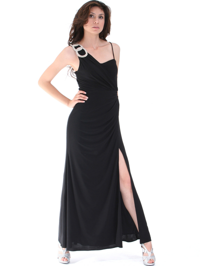 1943 Asymmetrical Neckline Evening Dress with Rhinestone Decor - Black, Front View Medium