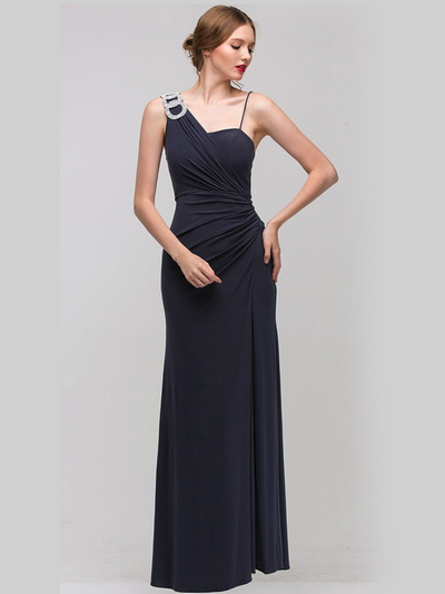 1943 Asymmetrical Neckline Evening Dress with Rhinestone Decor - Charcoal, Front View Medium