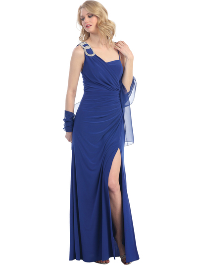 1943 Asymmetrical Neckline Evening Dress with Rhinestone Decor - Royal Blue, Front View Medium