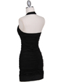 1962  Black Pleated Party Dress with Rhinestone Pin - Back Image