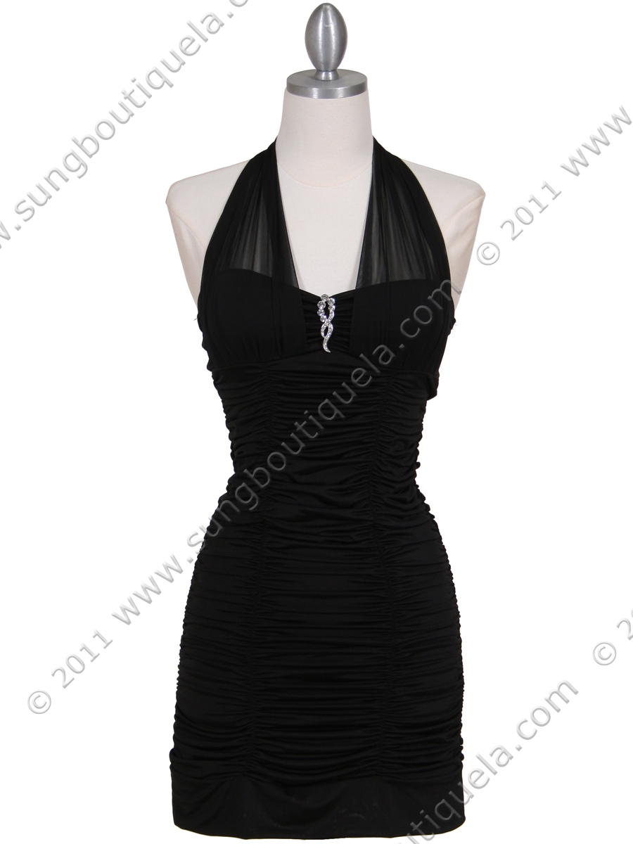 1962 Black Pleated Party Dress with Rhinestone Pin - Front Image