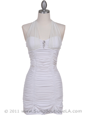 1962 Off White Pleated Party Dress with Rhinestone Pin, Off White