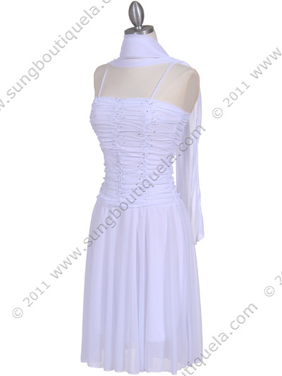 1975 White Party Dress - White, Alt View Medium