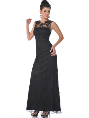 1980 Beaded Lace Overlay Evening Dress, Black