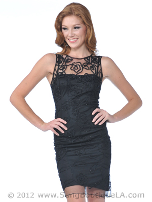 1981 Lace Beaded Cocktail Dress, Black
