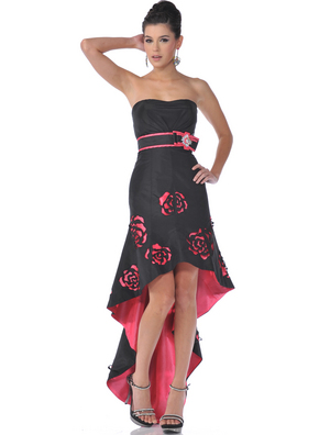 C1982 Black Strapless Rosette High Low Evening Dress, Black