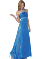 Teal Beaded Halter Evening Dress - Front Image