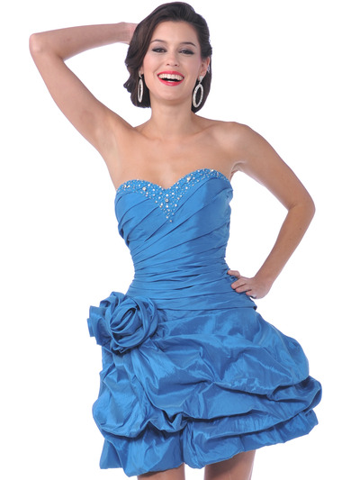 1988 Strapless Taffeta Beaded Homecoming Dress - Dark Turquoise, Front View Medium