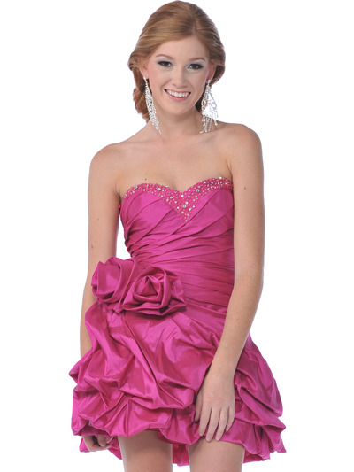 1988 Strapless Taffeta Beaded Homecoming Dress - Fuschia, Front View Medium