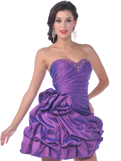 1988 Strapless Taffeta Beaded Homecoming Dress - Purple, Front View Medium