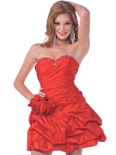 1988 Strapless Taffeta Beaded Homecoming Dress - Red, Front View Medium
