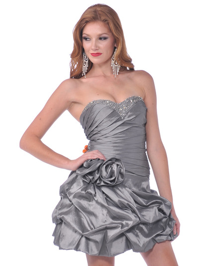 1988 Strapless Taffeta Beaded Homecoming Dress - Silver, Front View Medium