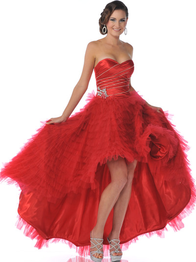1989 Red Strapless Sweetheart High Low Prom Dress - Red, Front View Medium