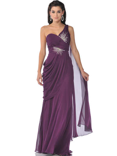 1992 One Shoulder Chiffon Evening Dress - Eggplant, Front View Medium