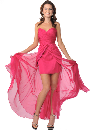 1996 Strapless Sweetheart Short Evening Dress with Chiffon Train - Fuschia, Front View Medium