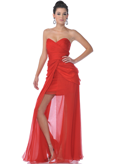 1996 Strapless Sweetheart Short Evening Dress with Chiffon Train - Red, Front View Medium
