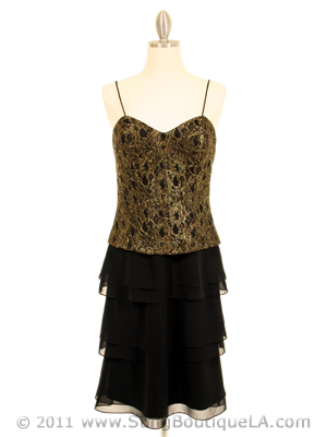 200 Black & Gold Lace Chiffon Evening Dress, Black Gold