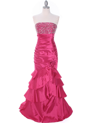 20114 Raspberry Beaded Prom Dress, Raspberry