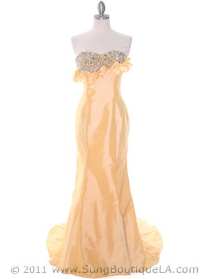 20121 Yellow Taffeta Prom Evening Dress, Yellow