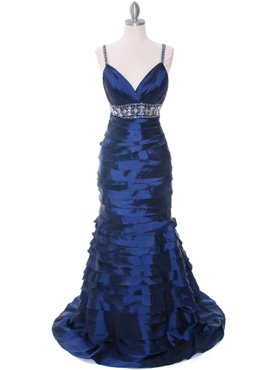 20129 Navy Taffeta Prom Evening Dress - Navy, Front View Medium