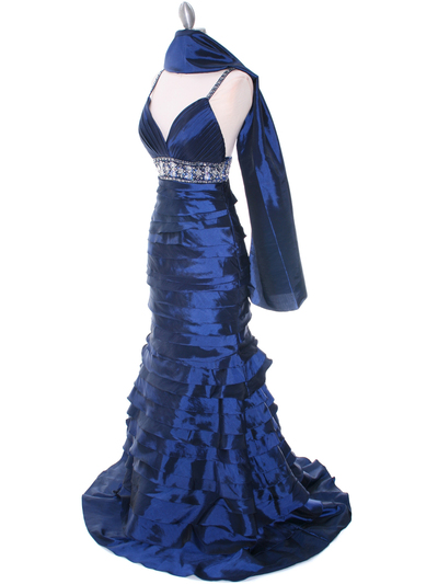 20129 Navy Taffeta Prom Evening Dress - Navy, Alt View Medium