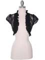 2017L Black Lace Short Sleeve Bolero - Black, Front View Thumbnail