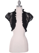 2017L Black Lace Short Sleeve Bolero, Black