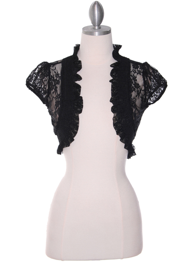 2017L Black Lace Short Sleeve Bolero - Black, Front View Medium