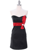 Black/Red Party Dress with Rhinestone Buckle