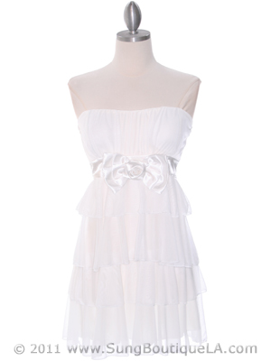 Ivory Tiered Graduation Dress - Front Image